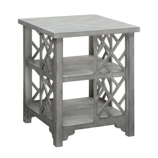 Harvey Ash Grey Chippendale Square End Table