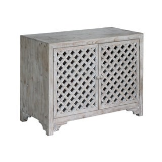Charlotte 2-Door Light Wash Diamond Lattice Work Cabinet