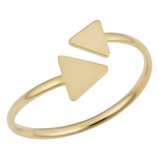 Fremada Italian 14k Yellow Gold Double Triangle Open Ring