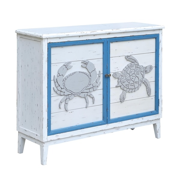 Whitewashed Cabinets: Shop Block Island Whitewash 2 Door Crab And Turtle Cabinet