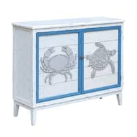 Block Island Whitewash 2 Door Crab and Turtle Cabinet