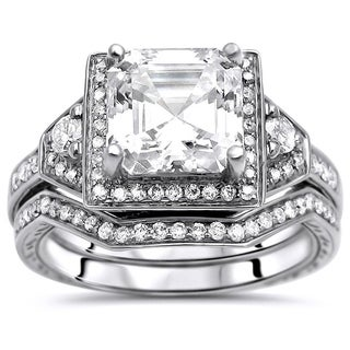 Noori 2 1/10 CT TGW Asscher Cut Moissanite and Round Diamond Engagement Ring Set 14k White Gold