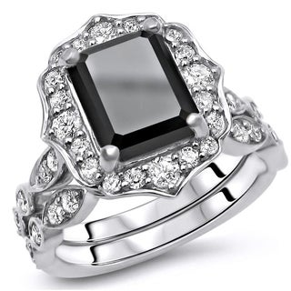 3 3 4 CT Black Emerald Cut Diamond Floral Engagement Ring Set 14k White Gold