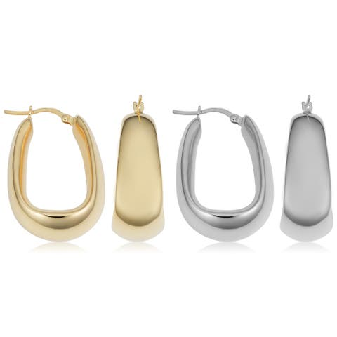 Fremada Italian Sterling Silver Electroform Oval Hoop Earrings (yellow or silver)
