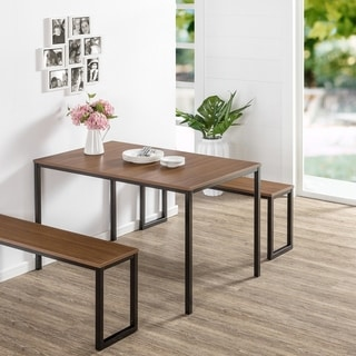 Priage Soho Brown/Black Dining Table with 2 Benches