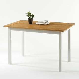 Priage Farmhouse White/Natural Wood Dining Table
