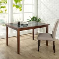 Priage Brown Wood Dining Table with Faux Marble Top