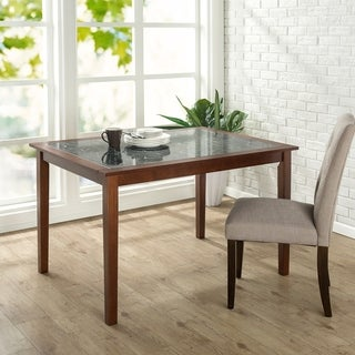 Priage Faux Marble and Wood Dining Table