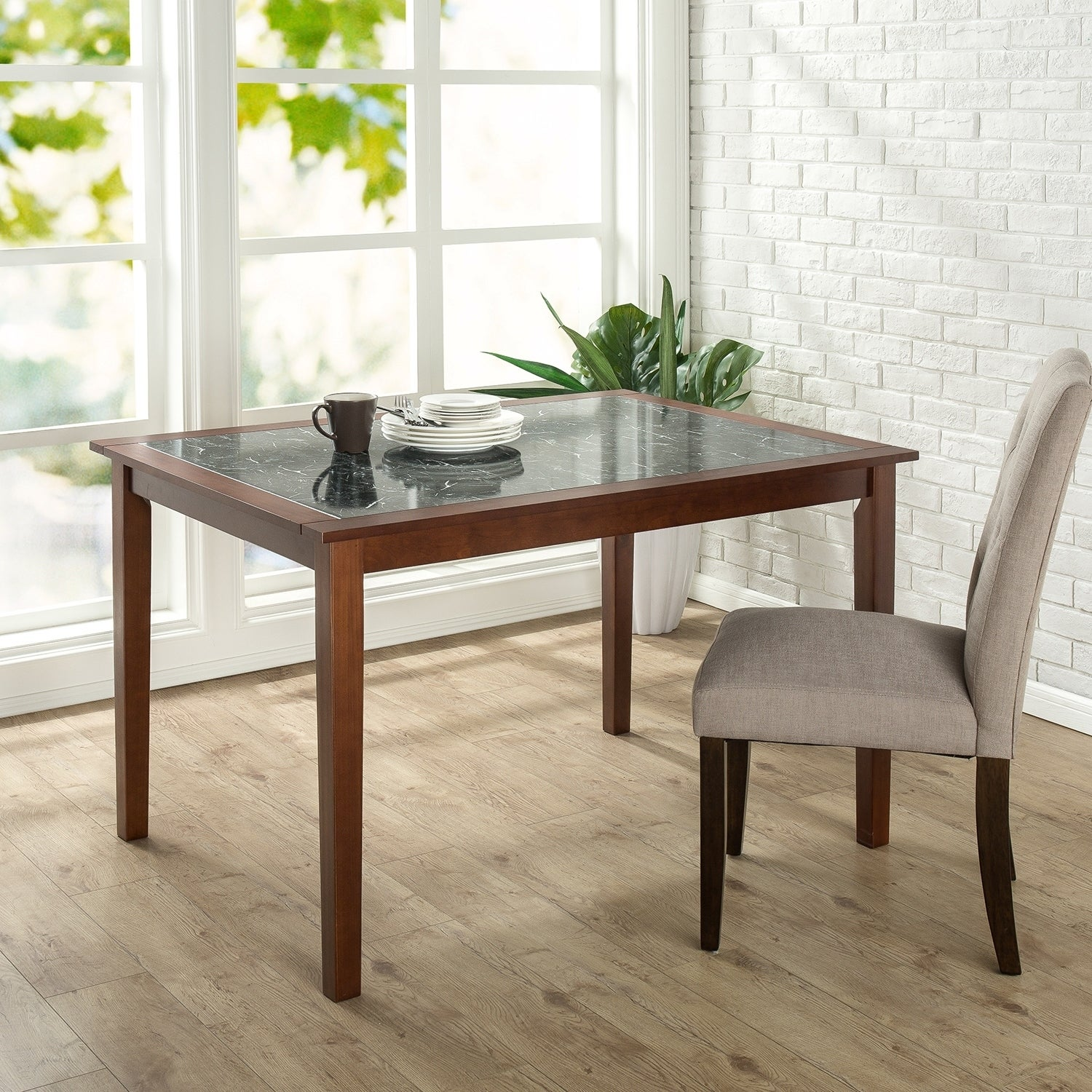 Priage By Zinus Faux Marble And Wood Dining Table On Sale Overstock 17076381