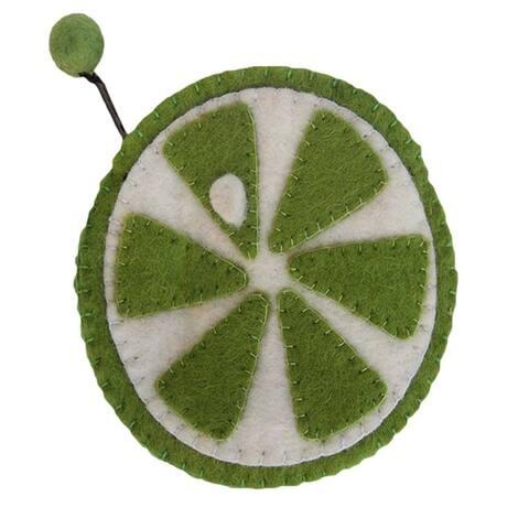 Handmade Felt Fruit Coin Purse - Lime (Nepal)