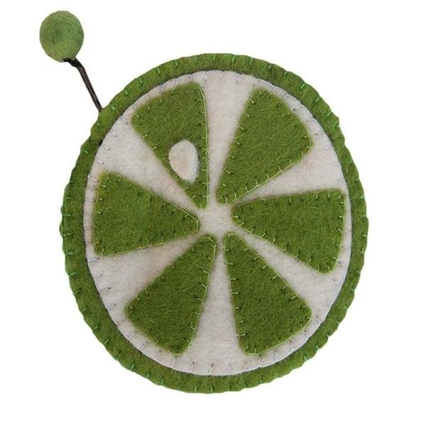 Handmade Felt Fruit Coin Purse - Lime (Nepal). Opens flyout.