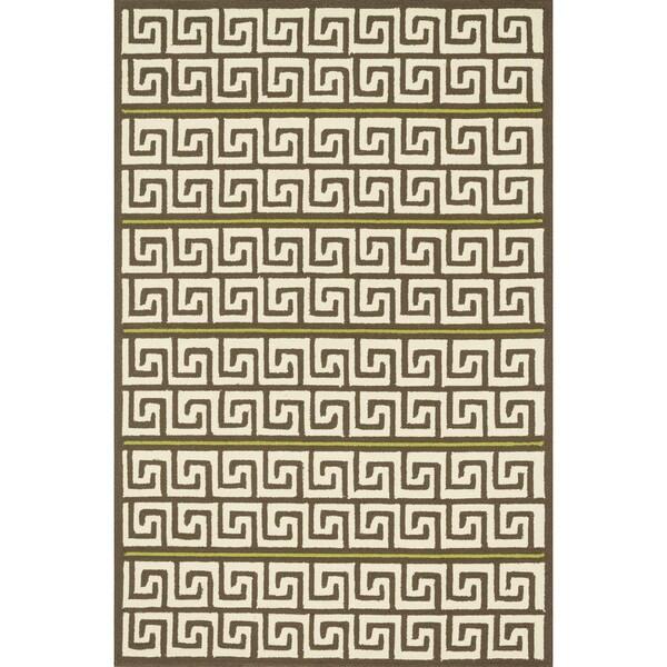 Indoor/ Outdoor Hand-hooked Brown/ Green Geometric Patio Rug - 9'3 x 13'