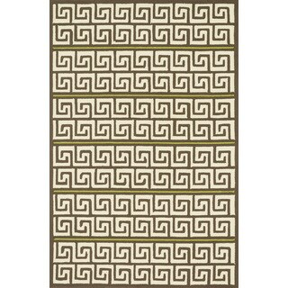 Indoor/ Outdoor Hand-hooked Geometric Brown/ Green Rug (9'3 x 13')