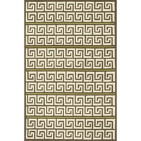 Indoor/ Outdoor Hand-hooked Brown/ Green Geometric Patio Rug - 9'3 x 13'