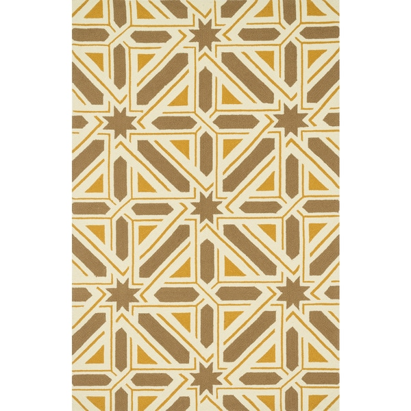 Indoor/ Outdoor Hand-hooked Taupe/ Gold Geometric Patio Rug - 9'3 x 13'