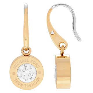 Michael Kors Stainless Steel Crystal Pave Logo Dangle Earrings