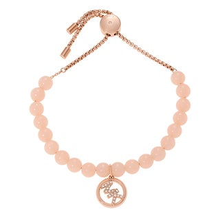 Michael Kors Simulated Pearl Crystal Accent Adjustable Logo Slider Bracelet