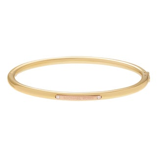 Michael Kors Two Tone Stainless Steel Logo Plaque Hinged Bangle Bracelet