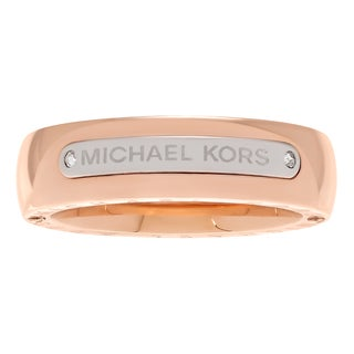 Michael Kors Two Tone Stainless Steel Plaque Logo Band Ring