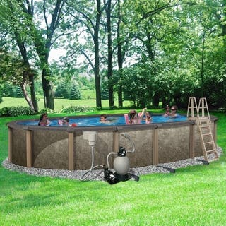 Riviera 18-ft x 33-ft Oval 54-in Deep 8-in Top Rail Metal Wall Swimming Pool Package|https://ak1.ostkcdn.com/images/products/17076543/P23349590.jpg?impolicy=medium