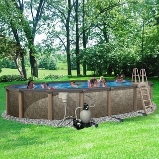 Riviera 18-ft x 33-ft Oval 54-in Deep 8-in Top Rail Metal Wall Swimming Pool Package