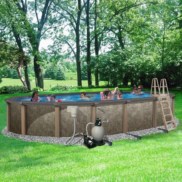 Deep Backyard Pool shop riviera 18-ft x 33-ft oval 54-in deep 8-in top rail metal wall