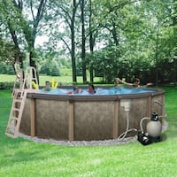 Riviera 27-ft Round 54-in Deep 8-in Top Rail Metal Wall Swimming Pool Package
