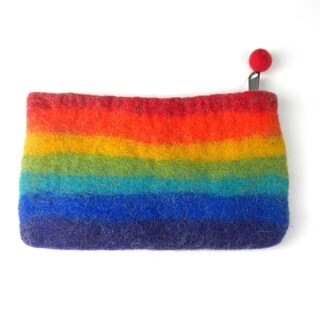 Handmade Felt Rainbow Clutch (Nepal)