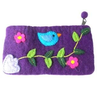 Handmade Felt Purple Bird Clutch (Nepal)