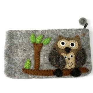Handmade Tan Felted Owl Clutch (Nepal)