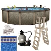Riviera 24-ft Round 54-in Deep 8-in Top Rail Metal Wall Swimming Pool Package