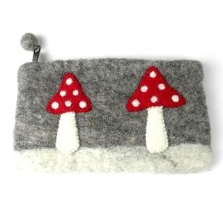 Handmade Felt Mushroom Clutch (Nepal)