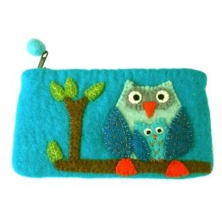 Handmade Felt Blue Owl Clutch (Nepal)