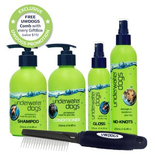 Underwater Dogs Grooming Gift Set - Shampoo, Conditioner, Detangler, Deodorizer & Dematting Comb (2 options available)