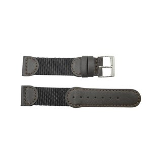 Brown Leather & Nylon Swiss Army Style Watch Strap (18mm, 19mm, 20mm)