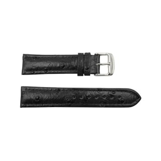 22mm Black Genuine Leather Ostrich Grain Dual Padding Watch Strap