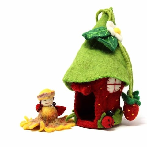 Handmade Felted Strawberry Fairy House (Nepal)