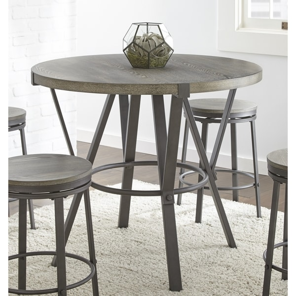 Perry Grey Round 42 Inch Counter Height Dining Table By Greyson Living