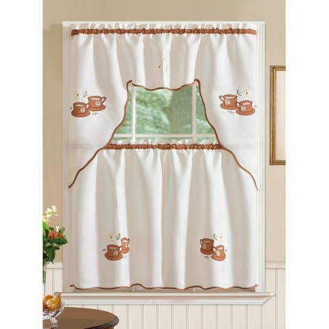 RT Designer's Collection Imperial Coffee Jacquard Tier and Valance Kitchen Curtain Set