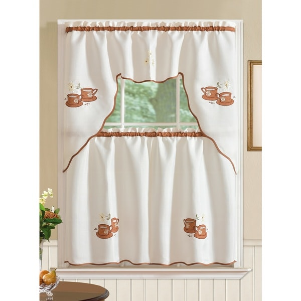 Rt Designer S Collection Imperial Coffee Jacquard Tier And Valance Kitchen Curtain Set Free Shipping On Orders Over 45 17076648