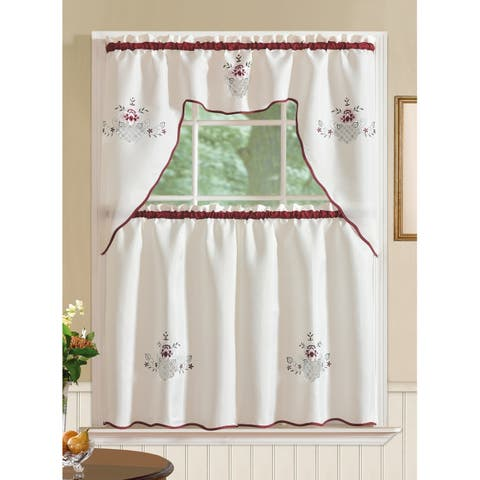 RT Designers Collection Imperial Flower Jacquard Tier and Valance Kitchen Curtain Set