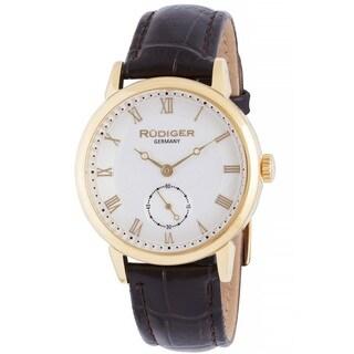 Rudiger Men's Quartz Gold tone Brown Leather Strap Watch