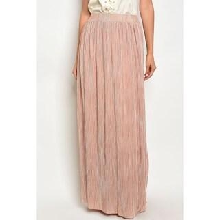 JED Women's Elastic Waist Pleated Maxi Skirt