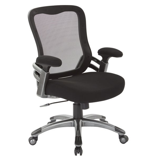 Black Mesh Back and Fabric Seat Office Chair with Light Water Transfer Accent Base