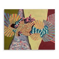 Kavka Designs Fan Red/Blue/Green Canvas Art