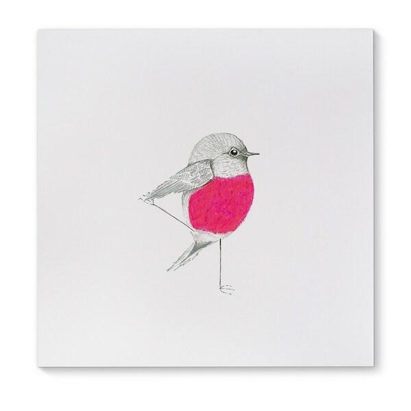 Kavka Designs Pink Robin Pink/Grey Canvas Art