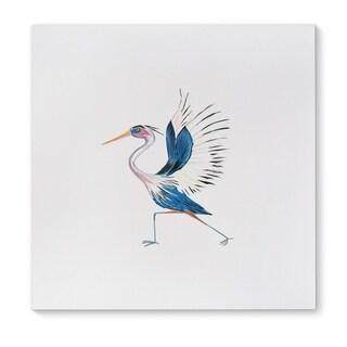 Kavka Designs Heron In High Lunge Blue/Grey/Pink Canvas Art