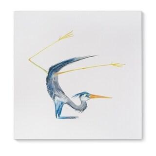 Kavka Designs Blue Heron Stag Blue/Grey/Orangel Yellow Canvas Art