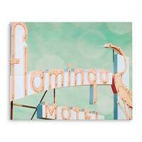 Kavka Designs Flamingo Pink/Blue/Green Canvas Art