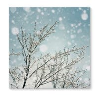 Kavka Designs Icy Branches Blue/White/Brown Canvas Art